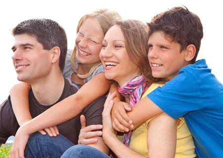 coherence: cute family having fun in the nature Stock Photo