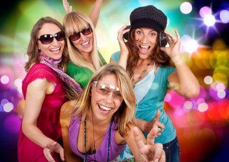 three beautiful girls making party photo