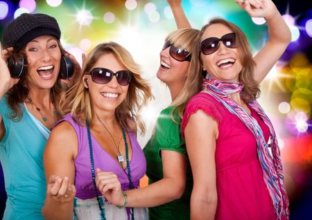 three beautiful girls making party