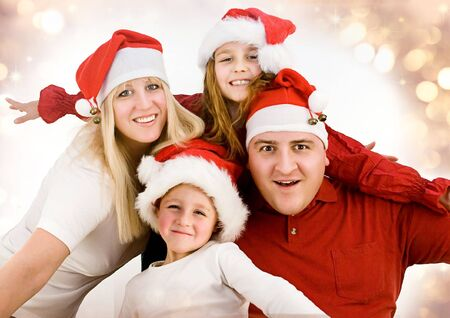 young family with gifts at christmas Stock Photo