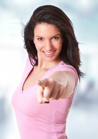집게 손가락: beautiful young girl pointing with her forefinger 스톡 사진