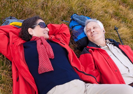 senior-couple hiking in the nature  photo
