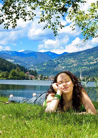 relate: beautiful girl enjoying the summer