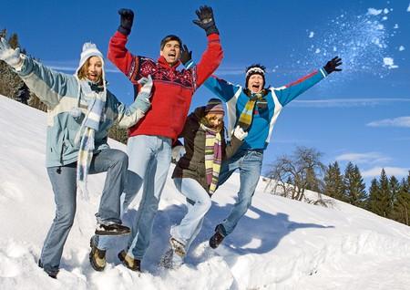 amis ayant du plaisir en hiver