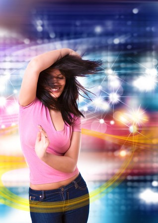 dancing pose: young woman dancing in a disco