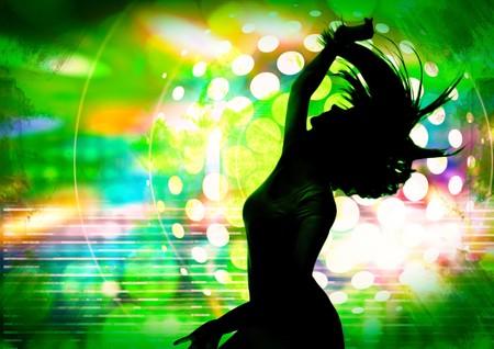 dancing silhouette of girl in a nightclub Stock Photo