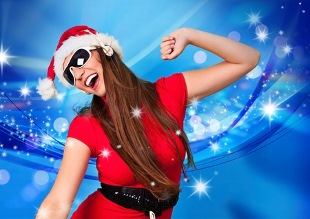 rocking santa girl dancing and listening to music with headphones