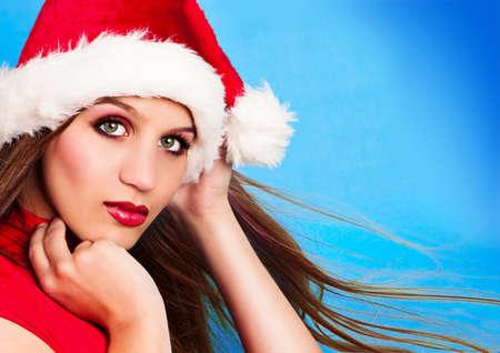 beautycare: portrait of pretty santa girl