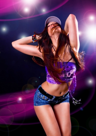 hot girl dancing in the disco photo