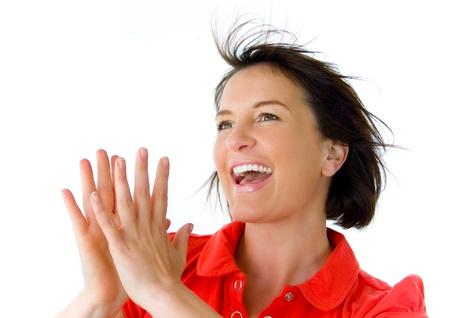 manos aplaudiendo: retrato de las manos aplaudiendo muy feliz, chica,