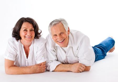 nice and happy couple lying on the floor Stock Photo