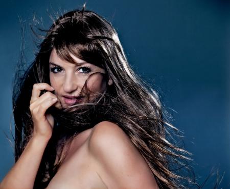 beautiful girl with long brown hair photo