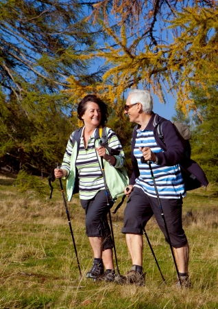 nordic walking: senior couple hiking in the nature Stock Photo