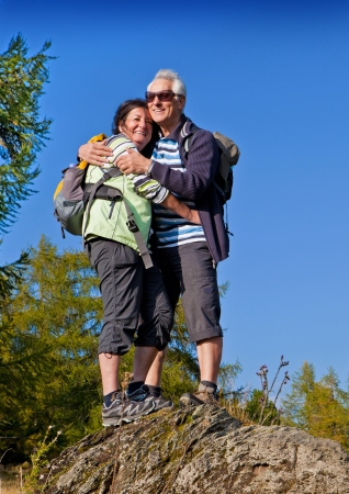 senior couple hiking in the nature Stock Photo