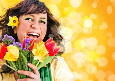 colores: cheerful girl with a bouquet of colorful flowers