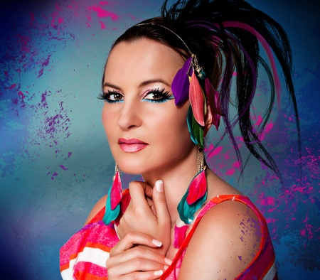 girl with flashy make-up and hairstyle photo