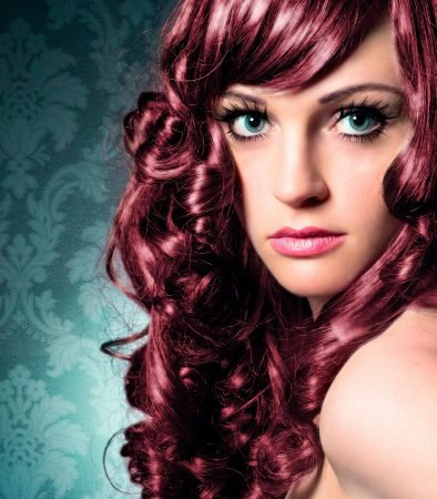 coiffeur: portrait of beautiful lady with red curly hair