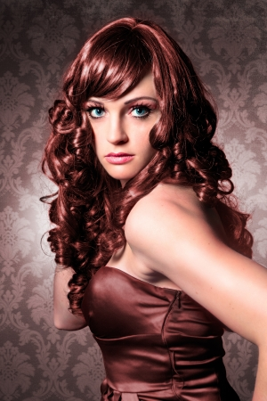 shiny floor: portrait of beautiful lady with red curly hair