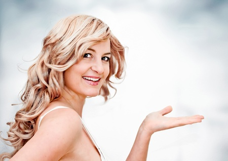 cheerful blond girl with different expressions photo