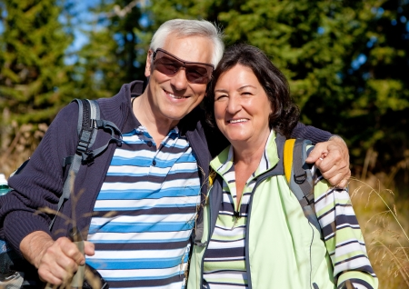 senior couple hiking in the nature Stock Photo - 15412064