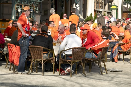 editorial: Dutch supporters in Budapest editorial Stock Photo