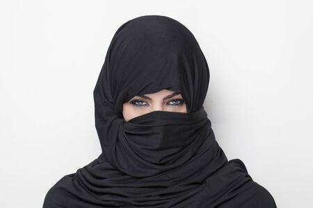 burqa: Beautiful girl with a deep look wearing a burqa