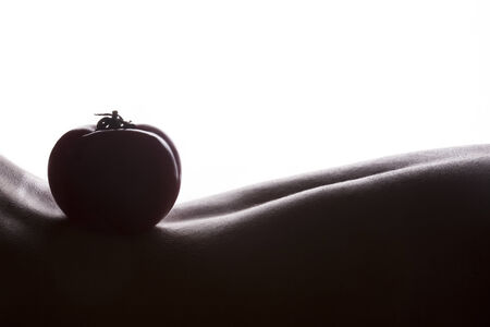bodyscape: Bodyscape with tomato silhouette on woman back