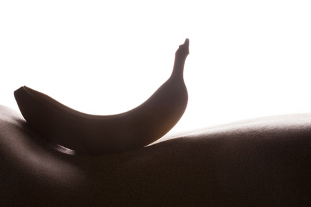 bodyscape: Bodyscape with banana silhouette on woman back