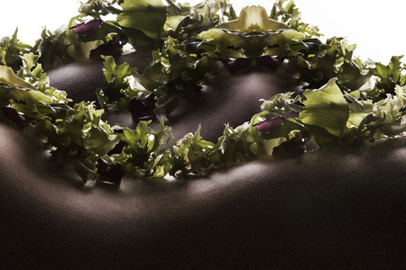 bodyscape: Bodyscape of salad on woman back