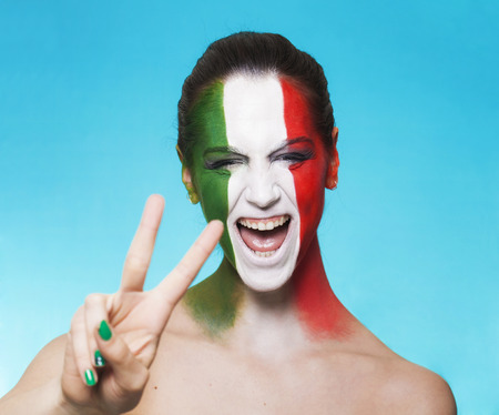 Beautiful and cheerful italian supporter  photo