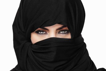 burqa: Beautiful girl wearing burqa closeup
