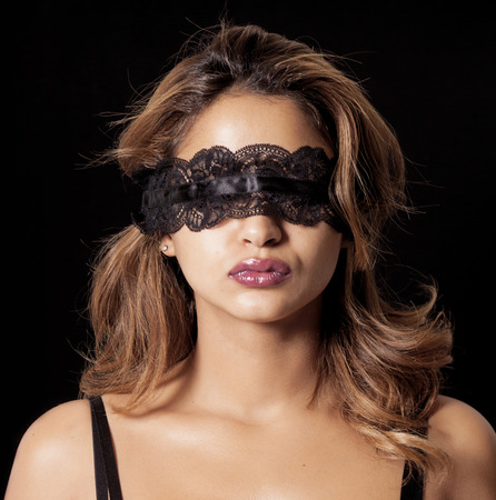 Blinddoek sexy vrouw Stockfoto