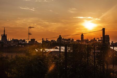 Cityscape met prachtige zonsondergang