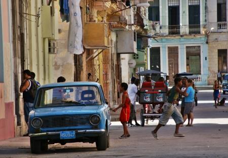 castro: Typical street scene in Old Havane Editorial