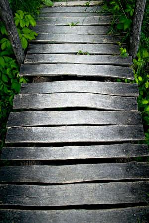 A forest road across a wooden bridge Stok Fotoğraf