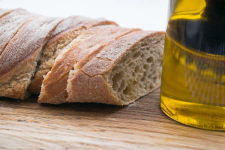 Crunchy fresh bread with aromatic oil 写真素材