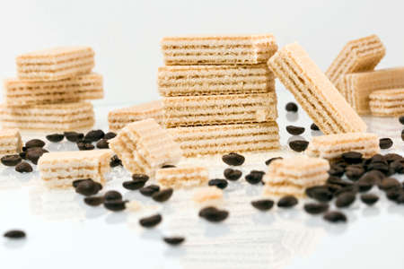Wafers with a creamy coffee filling and coffee beans