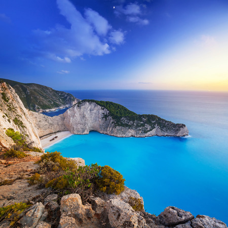 seascape: Navagio Beach Shipwreck beach at sunset on Zakynthos Island, Greece