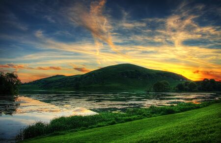 lough: Sunset over Lough Gur lake in Ireland