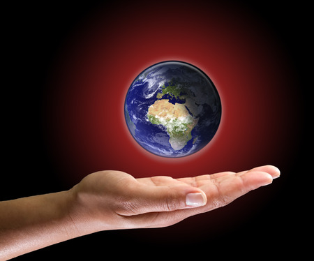 warming: Global warming in hand
