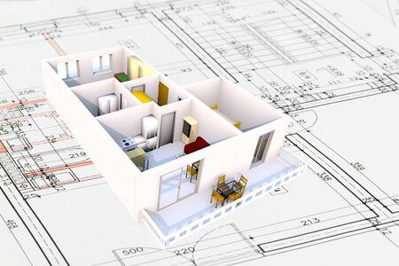 Apartment architecture plans with 3D building structure