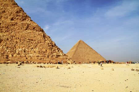 cheops: Cheops pyramid next to Chefren pyramid in Giza