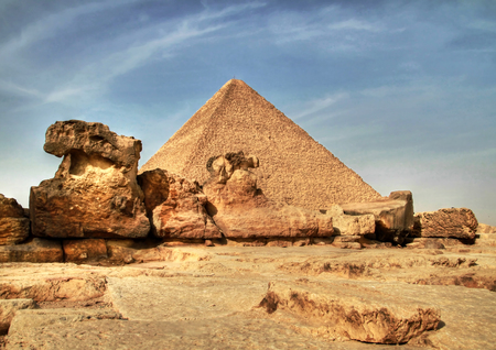egyptology: Cheops pyramid in Giza,Egypt Stock Photo