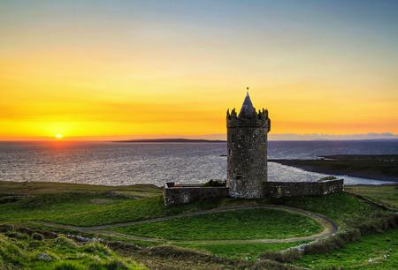 doolin: Doonagore castle at sunset