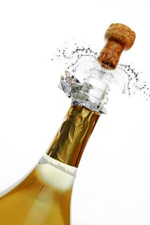 popping the cork: Bottle of champagne Stock Photo