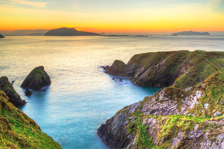 dunquin: Sunset over Dunquin bay on Dingle Peninsula, Co.Kerry, Ireland Stock Photo