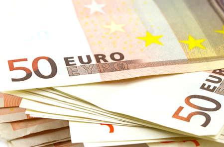 50 euro: Stack of 50 euro notes Stock Photo