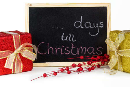 to till: Days till Christmas written on chalkboard