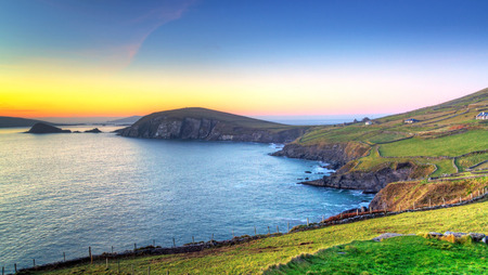 co  kerry: Dunquin bay in Co. Kerry at sunset, Ireland