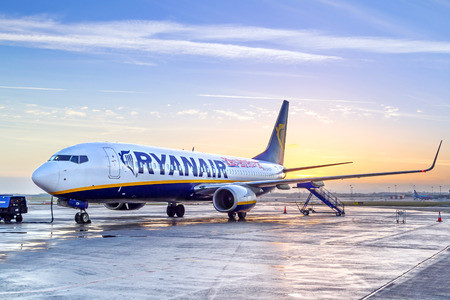 Preparing for boarding to Ryanair plane in Dublin airport